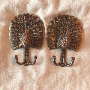 Peacock decorative wall hook pair. NWOB.